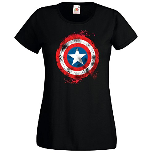 TRVPPY Damen T-Shirt Modell Captain America Brushed Farbe Schwarz Größe XL