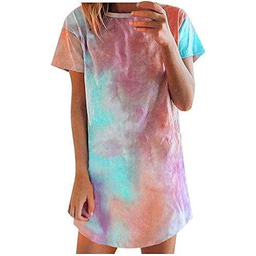 TTWOMEN Damenmode Kleider Tie-Dye T Shirt Kurzarm MiniKleid Sommerkleid für Frau Übergröße Brautkleid Maxikleid V-Ausschnitt Kurzarm Rock (Mehrfarbig, S)