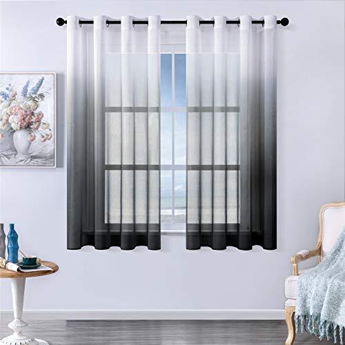 MRTREES Voile Gardinen Farbverlauf Leinenoptik Transparent Vorhang Kurz Tüllvorhang mit Ösen Schwarz 160×140cm (H×B) Modern für Dekoration Kinderzimmer Wohnzimmer Schlafzimmer 2er-Set