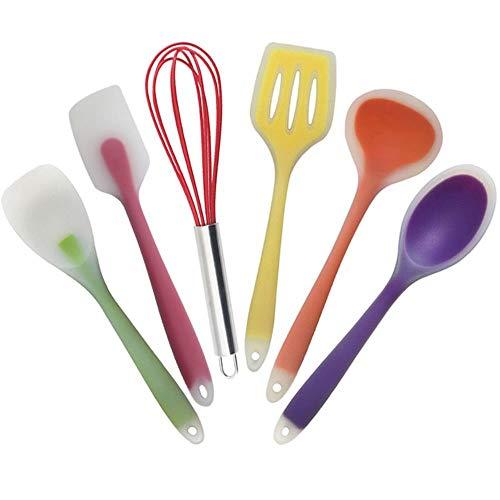 UKKD Ustensiles de Cuisine en Silicone 5/6Pcs Outils De Cuisson Set Ustensiles Cuisine Cuisine Spatule Soupe Cuillère Cuillère Cuillère Cuisinière Non-Stick,6 Pièces Set-B