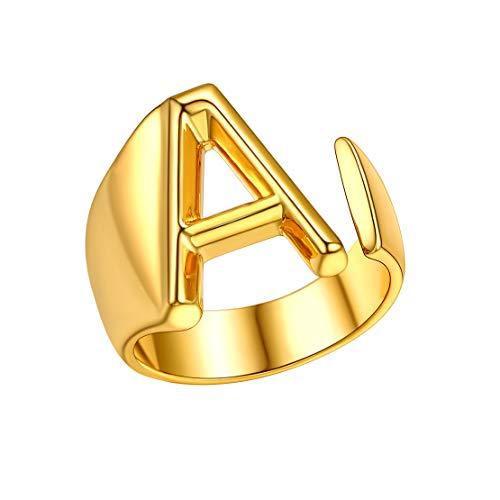 FindChic Anillo de Oro enchapado Inicial A Anillo Abierto para Mujeres Hombres