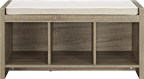 Ameriwood Home Altra Penelope Entryway Storage Bench with Cushion, Sonoma Oak