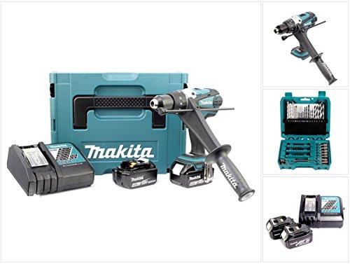 Makita DHP 458 RMJ 18V Li-Ion Akku-Schlagbohrschrauber + 2 x 4,0 Ah Akku + Ladegerät + Makpac + 60-teiliges Bit- und Bohrer Set