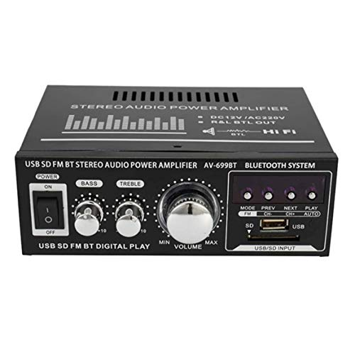 400W Bluetooth Amplificateur de Son, JIAYIDA Stereo Hi-Fi Digital Amp 2.0 Channel avec entrée RCA   USB   Carte SD   Bluetooth, Mini Ampli bluetooth Audio Stereo pour Voiture et Maison Avec Adaptateur