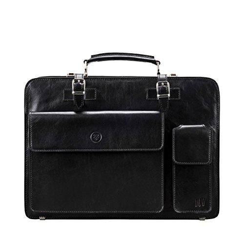 Maxwell Scott Bags® Luxus Schwarz-Leder Aktentasche