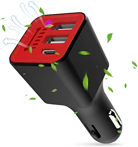 Car Charger Flush Fit 3.1A Dual USB & Type C Port, Universal Charger Compatible iPhone Xs XS Max XR X 8 12 11 Pro 7 Plus, Ipad Pro Air Mini, Galaxy S9 S8 S7 S6 Edge Note and More