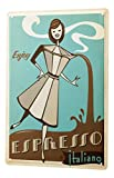 LEotiE SINCE 2004 Tin Sign Metal Plate Decorative Sign Home Decor Plaques Fun Kitchen Decoration Espresso Coffee Maker Italian Women Cartoon Metal Plate 8X12
