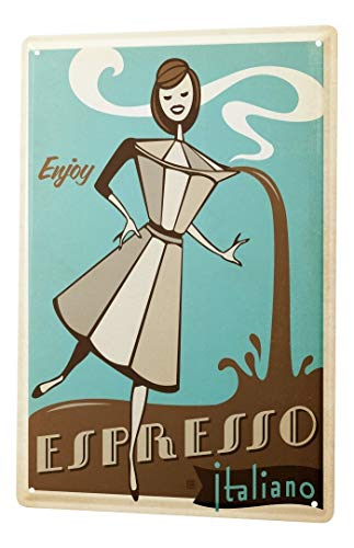 Tin Sign Fun Kitchen Decoration Espresso coffee maker italian women cartoon Metal Plate 8X12""