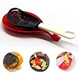 Multifunctional Kitchen Cooking Spoon 1 In 6 Cooking Tool Garlic Crusher For Kitchen Used for cooking, Filtering, Mashing, Grinding, Non-toxic Cooking Gadgets (black)
