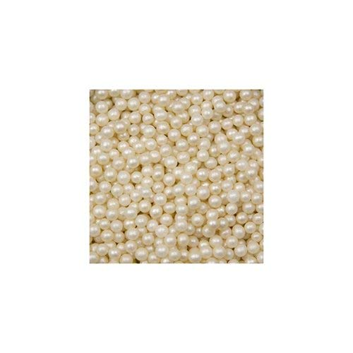 OCreme Ivory Edible Sugar Pearls Cake Decorating Supplies for Bakers: Cookie, Cupcake & Icing Toppings, Beads Sprinkles For Baking, Certified, Candy Sugar Ball Accents (2mm, 8 Oz)