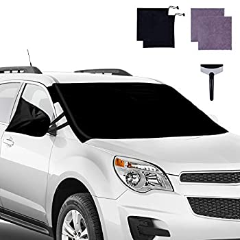 Windshield Snow Cover Car Windshield Snow Cover Frost Guard Wiper Protector with Side Mirror Covers Fit Most Cars Trucks Vans and SUVs All Weather Sunshade Summer Winter