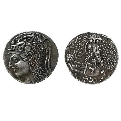 IPOTCH 2 pcs Antike Griechische Eule Athene Silbermünze Göttin Der Weisheit Münze Kunstsammlung