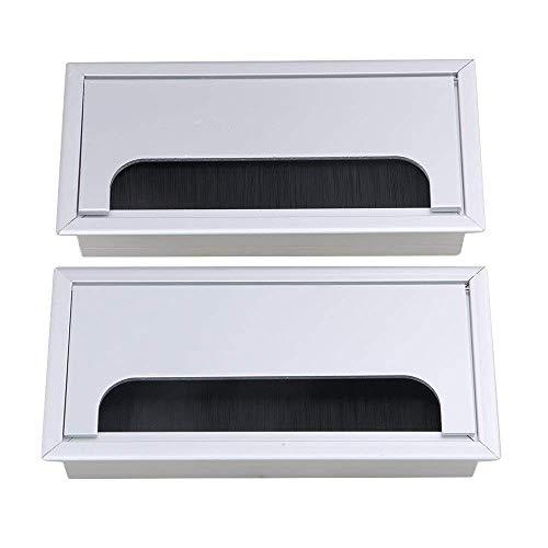 デスクグロメットメタル長方形デスクコードケーブルホールカバー グロメット付き ホームオフィス銀行コンピューターテーブル用 2個