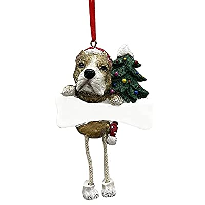 """Pit Bull Ornament Tan and White with Unique """"Dangling Legs"""" Hand Painted and Easily Personalized Christmas Ornament from E&S Imports, Inc"""