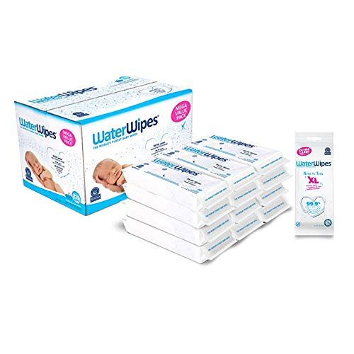Baby Wipes -WaterWipes Sensitive Baby Diaper Wipes,99.9% Water,Unscented & Hypoallergenic,for Newborn Skin,12 Packs (720ct) and WaterWipes XL Unscented,No-Rinse Textured Bath Wipes,1 Pack(16ct)