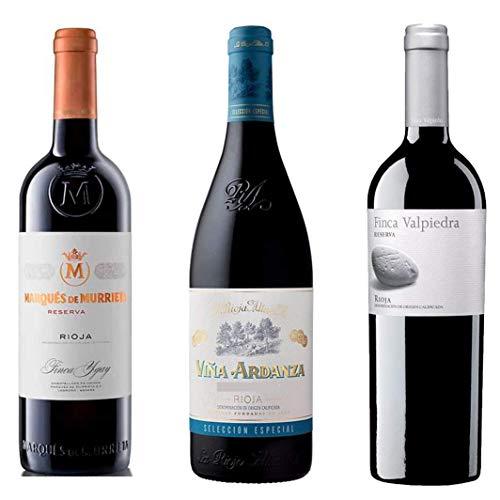 Lote Rioja Cosecha Privada - 3 Botellas de Vino Reserva Rioja - Viña Ardanza, Marqués de Murrieta, Finca Valpiedra - Las añadas se van actualizando según Bodegas