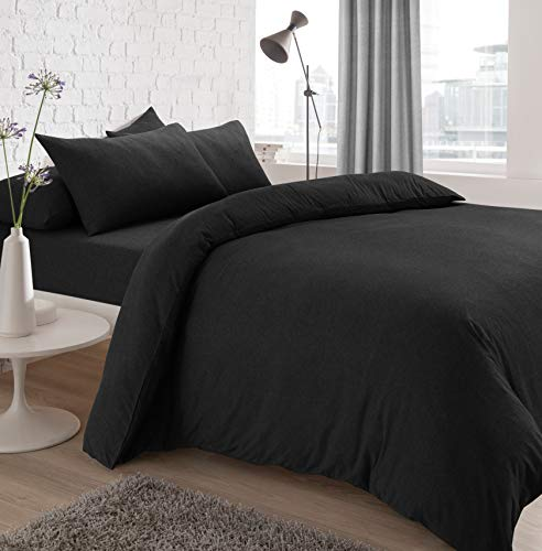 Sleepdown Jersey Melange Duvet Set - Easy Care Non Iron Plain Yarn Dyed Quilt Cover with Pillowcases - Charcoal, Double