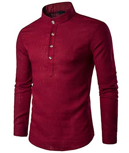 Cyiozlir - Camisa para hombre de lino con cuello mao, manga larga,...