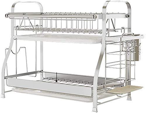 Desagüe de la cocina de acero inoxidable de drenaje estante vajilla compacto estante de la cocina multifuncional,Silver