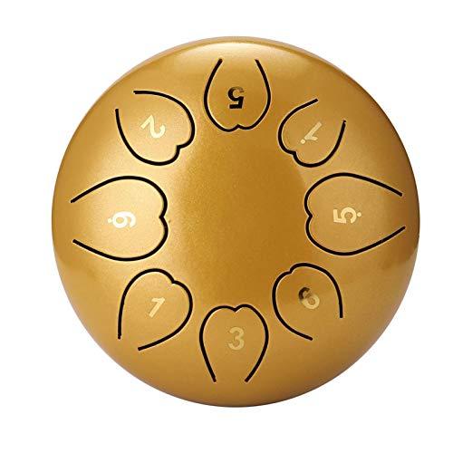 FENCHUN Tambores de la Mano de la Mano del Tambor de la Lengua de Acero de 8 Pulgadas de 8 Pulgadas con batería Instrumentos Musicales de percusión (Color : Gold)