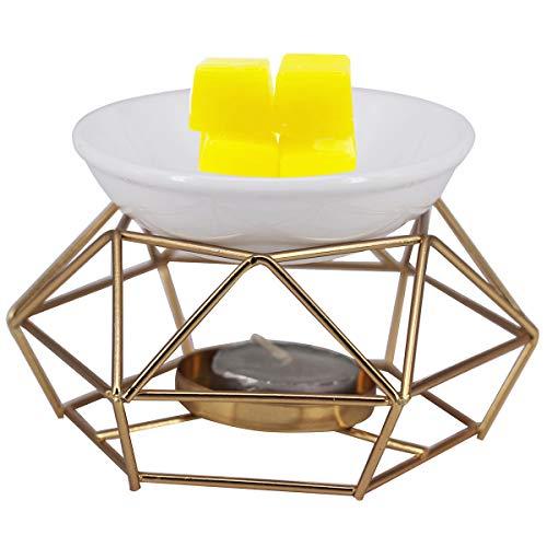 DELIWAY Iron Tealight Holder, Ceramic Essential Oil Burner Aromatherapy Candle Tart Wax Melt Warmer Diffuser for Living Room, Balcony, Spa Yaga Meditation