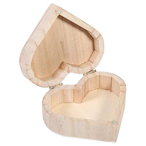 Joyero de Madera en Forma de Corazón, Caja de Joyería preciosa caja organizadora de joyas Caja de almacenamiento de madera para decoración de almacenamiento en el hogar