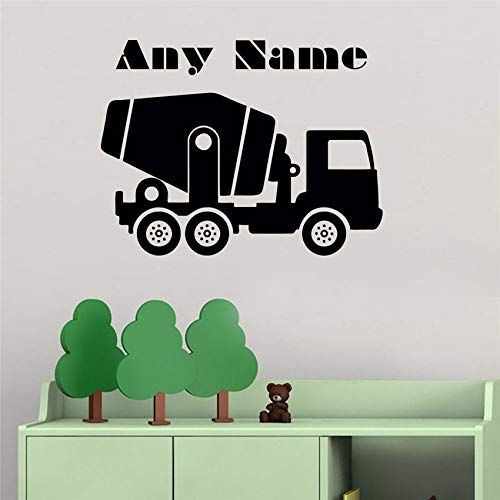 hllhpc Gepersonaliseerde naam muursticker auto beton mixer aangepaste naam Vinyl Art Decor Kwekerij Kids Kamer Muursticker 58 * 44cm
