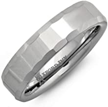 Oxford Ivy 6mm Mens Beveled Edge Comfort Fit Tungsten Wedding Band (Available Sizes 8-12 1/2)