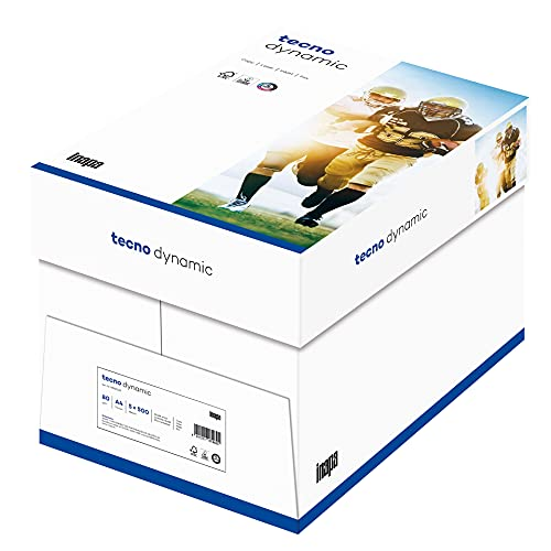 inapa Tecno Dynamic - Papel multifunción (80 g/m², A4, 2500 hojas (5 x 500), color blanco
