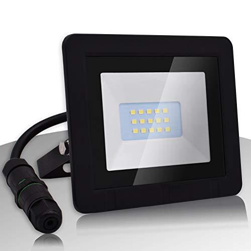 Lumare LED Strahler 10W Extraflach Flutlicht IP65 3000k für außen und innen inkl. IP68 Stromverbinder warmweiß Außenstrahler Außenleuchte Flutlichtstrahler Garten Gartenlampe LED-Strahler wasserdicht