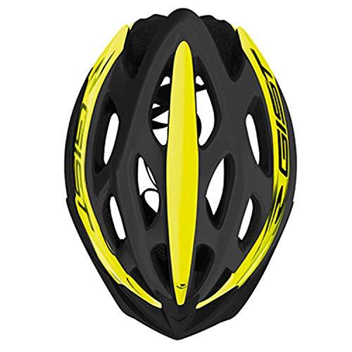 GIST Casque Velo Adulte Route-VTT Faster Noir-Jaune Fluo in-Mold Taille 52-58 REGLAGE MOLETTE 240 g