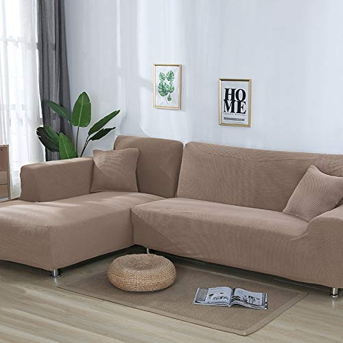 OKJK 2 Stück Jacquard L-Form Sofabezug, elastische Eck Couch überzug, Wohnzimmer Chaiselongue Sofa Protektor Stretch Staubdicht (Khaki,195-230cm 195-230cm)