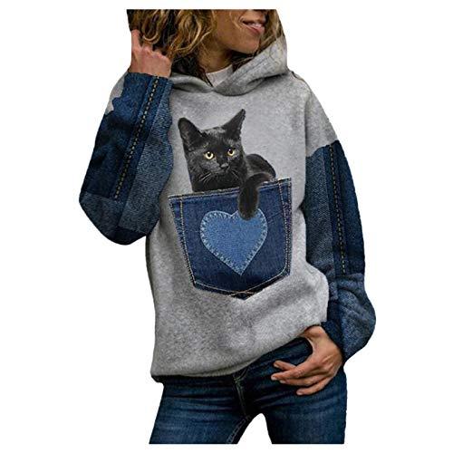 Janly Clearance Sale Camiseta de manga larga para mujer, informal, con estampado de animales, manga larga, sudadera cálida, para mujer, blusa estampada para Pascua, San Patricio, regalo (vino-XXL)