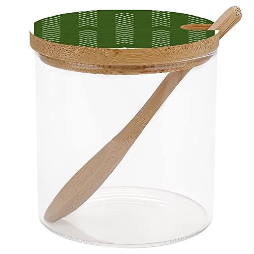 Forest Green Arrow Schmutzfangbehälter für Gewürze, Salz, Zucker, Gewürzgläser mit Deckel und Löffel