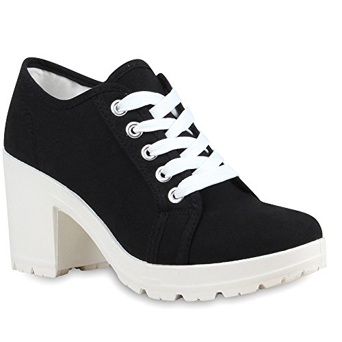 stiefelparadies Damen Ankle Boots Plateau Stiefeletten Profilsohle Schnürstiefeletten High Heels Schuhe 68993 Schwarz Avion 38 Flandell