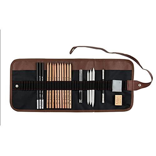 Youjin 21/29 piezas de herramientas de dibujo con carbón, lápices de dibujo, herramientas para bocetos, dibujos, arte