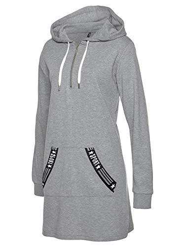 TrendiMax Damen Hoodie Kleid Herbst Langarm Sweatshirts Kapuzenpullover Streetwear Jumper Pullover Mini Kleider, Grau, L