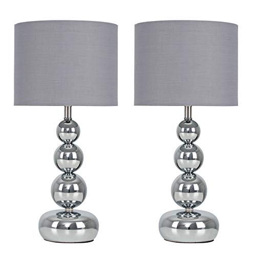 Pair of - Modern Polished Chrome Stacked Balls Touch Table Lamps with a Grey Shade