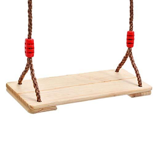 herommy Hölzerner Schwingsitz für Kinder, Holzgarten Swing Swing-Sitz Kinder Erwachsene Garten-Hinterhof Outdoor Ersatzseil-Holzschwingen-Set bis 300kg, 40x16x1.2cm