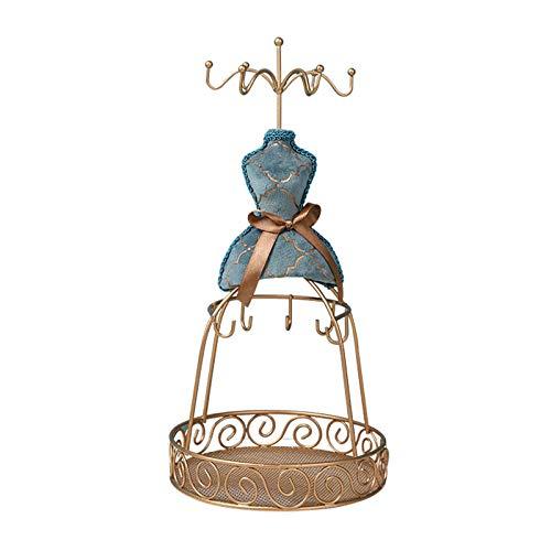 Titular de collar Soporte de joyería de la vendimia Modelo humano de moda Soporte de metal Pendientes de metal Blue Double-Deck Jewelry Soporte de exhibición, 10,6 pulgadas de altura Organizador de jo