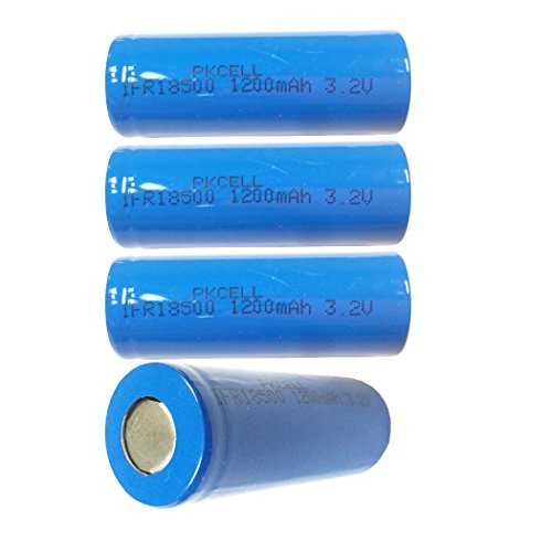 3.2V LIFEPO4 Rechargeable Lithium Battery IFR 18500 Batteries 4pcs