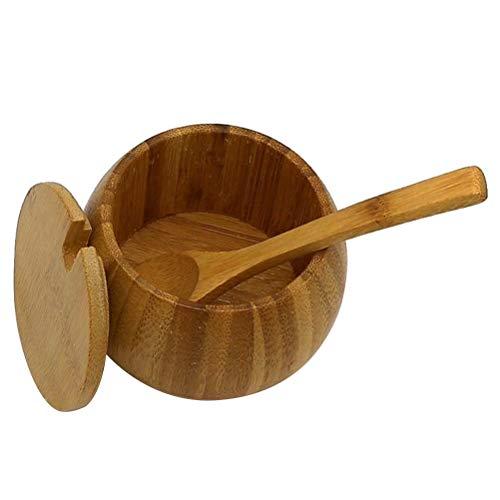 BESTONZON Gewürzgläser Holz Gewürz Dose Gewürzhalter Salz Zucker Container mit Bambus Deckel Löffel