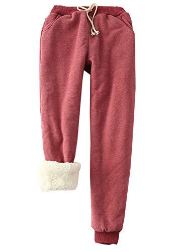 Flygo Women's Winter Warm Fleece Joggers Pants Sherpa Lined Sweatpants Active Track Pant (Wine Red, Medium)