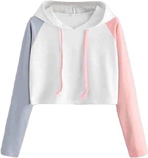 HEFASDM Women's Casual Long-sleeve Spell Color Crop Tops Hoodies Sweater Pullover AS3 XS