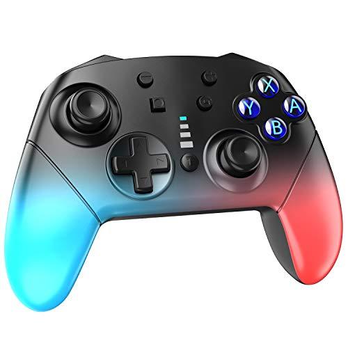 SCFUK Controller Wireless per Nintendo Switch, Controller PRO Wireless con Doppia Vibrazione con Funzione Turbo e Giroscopio, Joystick Compatibile con Nintendo Switch/Lite, Rosso e Blu Sfumato