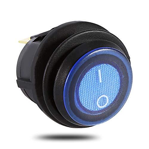 Interruptor de palanca de balancín del coche 12V, 3 Pines 19mm Interruptor de control de encendido y apagado SPST de luz azul redonda