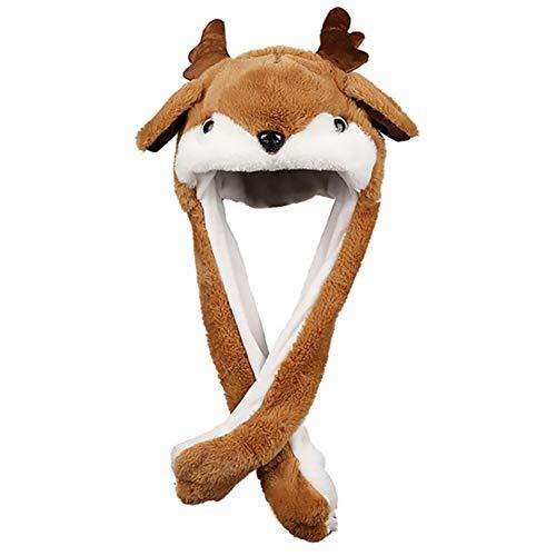 Wechoide Elektrische Weihnachtsmütze mit beweglichen Ohren, Beleuchtung, Partydekoration, Requisiten D