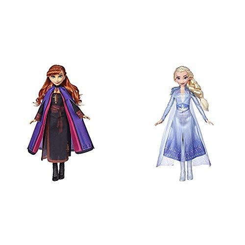 Hasbro Disney Die Eiskönigin II Anna Puppe mit langem rotem Haar und Outfit E6710ES0 & Die Eiskönigin II ELSA Puppe mit langem blondem Haar und blauem Outfit E6709ES0