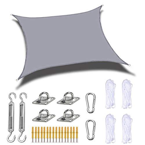 HUIGE Toldo De Vela Rectangular De 4X6 M, Toldo De Vela De Bloque UV De 160 G / M2 con Kit De Fijación, Toldo De Toldo De Sombrilla De Patio De Grado Comercial Resistente,B