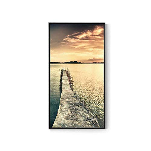 HYY-YY Falling Twilight Dusk Scenery Modern Minimalist PS Foam Frame Seascape Corridor Decor Micro Jet Painting Nordic Landschaft Painting Atmosphärische Vertikale Version Kunst Gang Veranda Wandfarbe